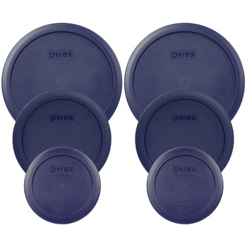 Pyrex (2) 7200-PC, (2) 7201-PC & (2) 7402-PC Blue Round Plastic Storage Lids