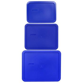 Pyrex 7212-PC, 7211-PC, and 7210-PC Cobalt Blue Rectangle Plastic Lids
