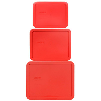 Pyrex 7212-PC, 7211-PC, and 7210-PC Red Rectangle Plastic Lids