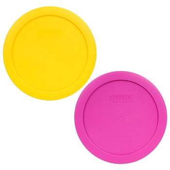 Pyrex 7201-PC Pink and Yellow 4 Cup Round Plastic Replacement Lids