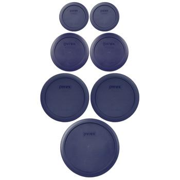 Pyrex 7202-PC, 7200-PC, 7201-PC, 7402-PC Dark Blue 7pc Storage Lid Set