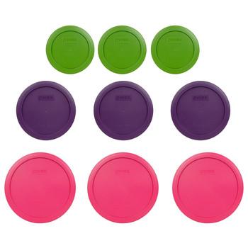 Pyrex (3) 7200-PC Green, (3) 7201-PC Purple & (3) 7402-PC Fuchsia Round Plastic Storage Lids