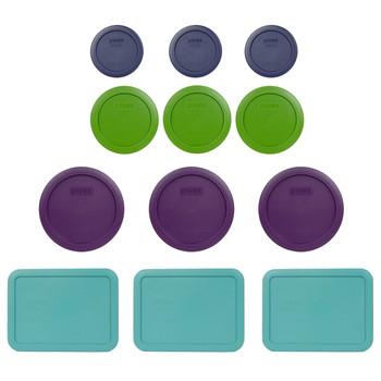 Pyrex (3) 7202-PC Blue (3) 7200-PC Green, (3) 7201-PC Purple & (3) 7210-PC Turquoise Round Plastic Storage Lids