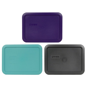 Pyrex 7210-PC 3 Cup (1) Purple, (1) Turquoise, and (1) Charcoal Gray Plastic Replacement Lids