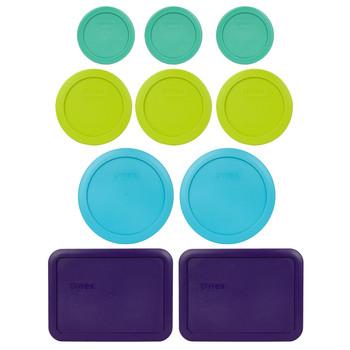 Pyrex Simply Store 7202-PC Light Green, 7200-PC Edamame Green, 7201-PC Blue, and 7210-PC Purple 10pc Plastic Lid Set