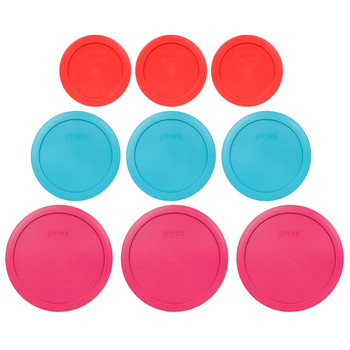 Pyrex (3) 7200-PC Red, (3) 7201-PC Surf Blue & (3) 7402-PC Fuchsia Round Plastic Replacement Lids