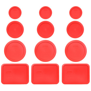 Pyrex (3) 7202-PC (3) 7200-PC, (3) 7201-PC & (3) 7210-PC Red Replacement Lids