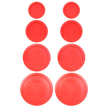 Pyrex (2) 7202-PC, (2) 7200-PC, (2) 7201-PC, and (2) 7402-PC Red Replacement Lids