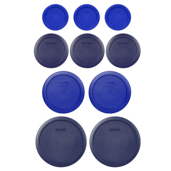 Pyrex Replacement Lids (3) 7202-PC Cadet Blue, (3) 7200-PC Dark Blue, (2) 7201-PC Cadet Blue, and (2) 7402-PC Dark Blue