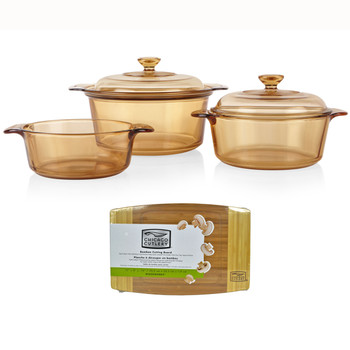 """Visions 1127698 5pc Dutch Oven Cookware Set with 3.5L Stewpot & Chicago Cutlery 1074564 12"""" x 8"""" x 3/4"""" Bamboo Cutting Board"""