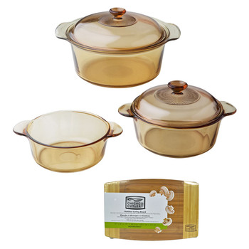 """Visions 1127699 5pc Dutch Oven Set & Chicago Cutlery 1074564 12"""" x 8"""" x 3/4"""" Bamboo Cutting Board"""