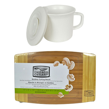 """Corningware 1127557 20 oz Hammered White Meal Mug with Lid & Chicago Cutlery 1074564 12""""x8""""x3/4"""" Bamboo Cutting Board"""