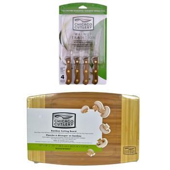 "Chicago Cutlery B144 4pc Walnut Tradition Steak Knife Set & 1074564 12"" x 8"" x 3/4"" Bamboo Cutting Board"