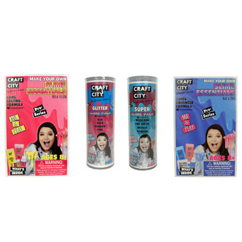 Craft City Make Your Own Red, Yellow, Blue, and Pink Slime Pro Series Bundle Kit