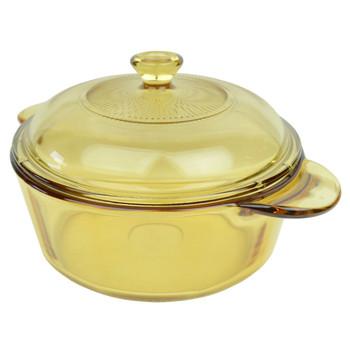 Visions VM1.25 1.25L Amber Glass Casserole/Dutch Oven Dish w/ V-1.5qt/.95L Amber Glass Lid