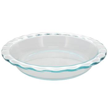 "Pyrex 9.5"" Round Fluted Rim Glass Baking Pie Plate"