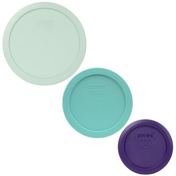 Pyrex 7402-PC Muddy Aqua, 7201-PC Sun Bleached Turquoise, and 7200-PC Plum Purple Food Storage Replacement Lid Covers