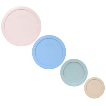 Pyrex 7402-PC Loring Pink, 7201-PC Blue Cornflower, 7200-PC Muddy Aqua, 7202-PC Blush Food Storage Replacement Lid Covers