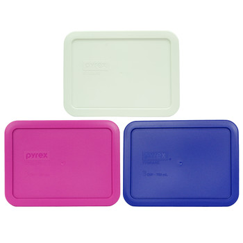 Pyrex 7210-PC 3 Cup White, 7210-PC Berry Pink, and 7210-PC Cadet Blue Plastic Food Storage Replacement Lids