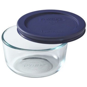 Pyrex 7202 1 Cup Glass Dish & 7202-PC 1 Cup Blue Replacement Lid Cover