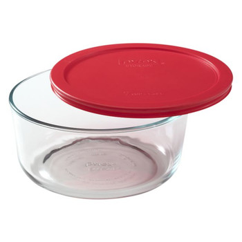 Pyrex 7203 7-Cup Round Glass Food Storage Bowl w/ 7402-PC 7-Cup Red Plastic Lid Cover