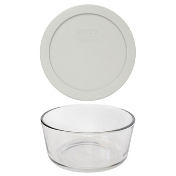 Pyrex 7201 4-Cup Round Glass Food Storage Bowl w/ 7201-PC 4-Cup Sleek Silver Lid Cover