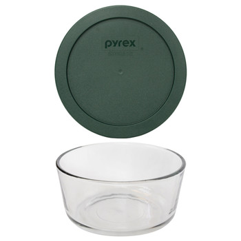 Pyrex 7201 4-Cup Round Glass Food Storage Bowl w/ 7201-PC 4-Cup Thyme Green Lid Cover