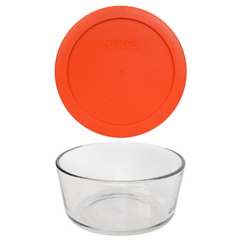 Pyrex 7201 4-Cup Round Glass Food Storage Bowl w/ 7201-PC 4-Cup Pumpkin Orange Lid Cover
