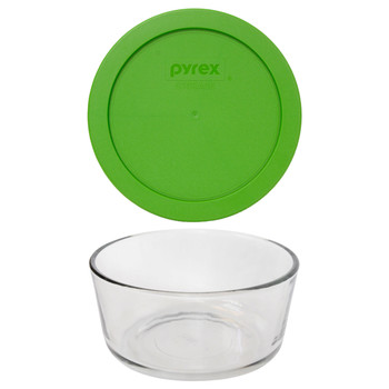 Pyrex 7201 4-Cup Round Glass Food Storage Bowl w/ 7201-PC 4-Cup Lawn Green Lid Cover