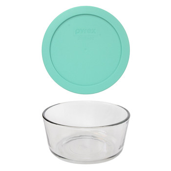 Pyrex 7201 4-Cup Round Glass Food Storage Bowl w/ 7201-PC 4-Cup Sea Glass Green Lid Cover