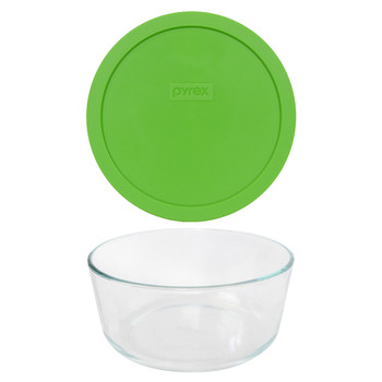 Pyrex 7203 7-Cup Round Glass Food Storage Bowl w/ 7402-PC 7-Cup Green Plastic Lid Cover
