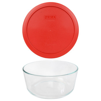 Pyrex 7203 7-Cup Round Glass Food Storage Bowl w/ 7402-PC 7-Cup Poppy Red Plastic Lid Cover
