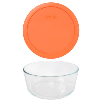 Pyrex 7203 7-Cup Round Glass Food Storage Bowl w/ 7402-PC 7-Cup Orange Plastic Lid Cover