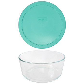 Pyrex 7203 7-Cup Round Glass Food Storage Bowl w/ 7402-PC 7-Cup Light Green Plastic Lid Cover