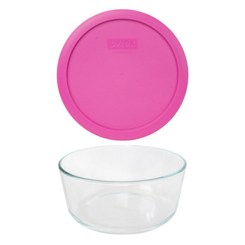 Pyrex 7203 7-Cup Round Glass Food Storage Bowl w/ 7402-PC 7-Cup Pink Plastic Lid Cover