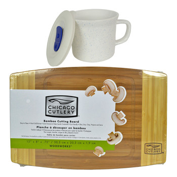 "Corningware 1127565 20 oz Marine Blue Speckled Meal Mug with Lid & Chicago Cutlery 1074564 12""x8""x3/4"" Bamboo Cutting Board"
