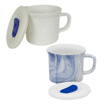 Corningware 20 oz Blue Speckled & Blue Marble Meal Mugs with Lids