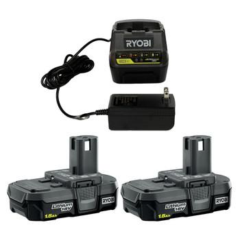 Ryobi P118B 18V Battery Charger with (2) Ryobi P189 18V 1.5 Ah Battery Packs