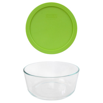 Pyrex 7203 7-Cup Round Glass Food Storage Bowl w/ 7402-PC 7-Cup Edamame Green Plastic Lid Cover