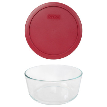 Pyrex 7203 7-Cup Round Glass Food Storage Bowl w/ 7402-PC 7-Cup Berry Red Plastic Lid Cover