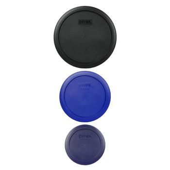 Pyrex (1) 7402-PC Black Lid, (1) 7201-PC Cadet Blue Lid, and (1) 7200-PC Blue Lid