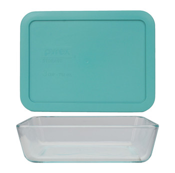 Pyrex 7210 3-Cup Rectangle Glass Food Storage Dish w/ 7210-PC 3-Cup Turquoise Lid Cover