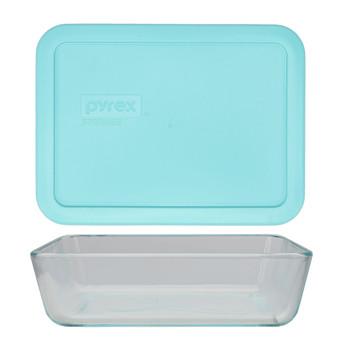 Pyrex 7210 3-Cup Rectangle Glass Food Storage Dish w/ 7210-PC 3-Cup Sun Bleached Turquoise Lid Cover
