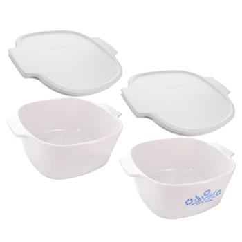 CorningWare (1) A-3-B-JW 3L Just White Dish, & (1) A-3-B Cornflower Blue Dish, & (2) A-2-PC White Lids
