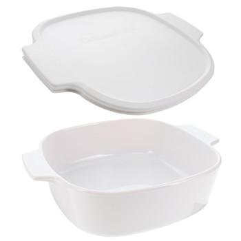 Corningware Just White 2 Liter Small Casserole Dish & A-2-PC White Plastic Lid Cover