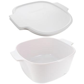 Corningware Just White 3 Liter Stove Top Big Casserole Dish & A-2-PC White Plastic Lid Cover