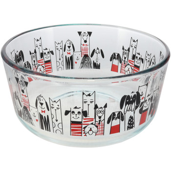 Pyrex (1) 7201 City Dogs Glass Bowl & (1) Pyrex 7201-PC Red Plastic Round Lid Cover
