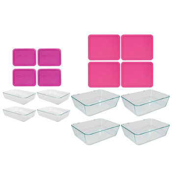 Pyrex 7210 Glass Dish & 7212 Glass Dish & 7210-PC Pink Lid & 7212-PC Pink Lid (4-Pack)