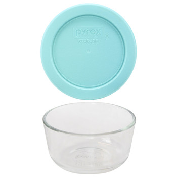 Pyrex 7202 1 Cup Glass Dish & 7202-PC 1 Cup Jade Dust Green Replacement Lid Cover