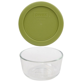 Pyrex 7202 1 Cup Glass Dish & 7202-PC 1 Cup Olive Green Replacement Lid Cover